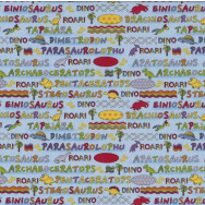 Dinosaur Names Words on Blue Lost World Kids Quilting Fabric