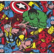 Marvel Avengers Spiderman Hulk Thor Captain America Licensed Boys Fabric