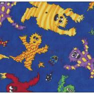 Monster Mash on Blue Boys Kids Quilt Fabric
