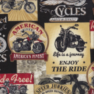 Vintage Motorbike Signs on Black Quilting Fabric