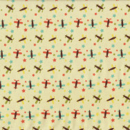 Planes and Stars Oh Boy on Yellow Kids Quilt Fabric