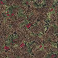 Pine Cones Berries on Black Quilting Fabric