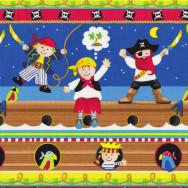 Pirates Skulls Border Ship Boys Kids Parrots Quilt Fabric