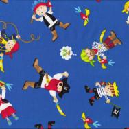 Pirates Blue Parrots Boys Flag Skulls Kids Quilt Fabric