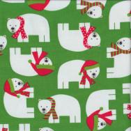 Polar Bears on Green Quilting Fabric