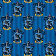 Harry Potter Ravenclaw Badges on Blue Stripe Digitally Printed Licensed Fabric