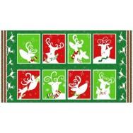 Reindeer Christmas Blocks Snowflakes Quilting Fabric Panel