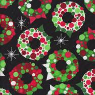 Retro Christmas Wreaths Quilting Fabric