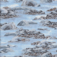 Rocks Water Creek River Nature Landscape Quilting Fabric