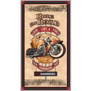 Rule The Road Ride Like a King Motorcycle Motorbike Quilting Fabric Panel