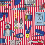 Cute School Materials Pens Crayons Notes on Kids Red Stripes Fabric