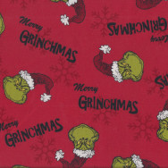 Dr Seuss Merry Grinchmas on Red The Grinch Kids Licensed Quilting Fabric