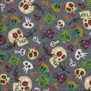 Skulls on Grey Ghosts Mexican Hot Tamale Quilting Fabric