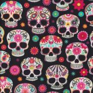 Skulls Black Quilting Fabric