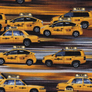 Yellow Taxi Cabs Cars New York Mens Boys Kids Quilt Fabric