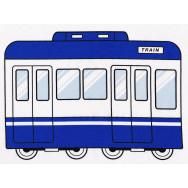 Trains and Carriages on White Boys Kids Fabric Panel