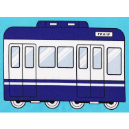 Trains and Carriages on Blue Boys Kids Fabric Panel