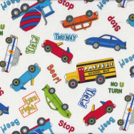 Police Cars Trucks School Bus Taxi on White Boys Kids Quilt Fabric