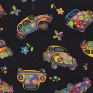 Volkswagen Cars on Black WV Beetle Flowers Hippy Boys Mens Quilt Fabric