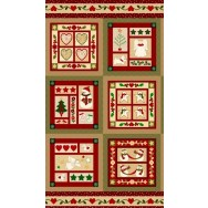 Christmas Wrapped in Joy Angel Snowmen Gingerbread Quilting Fabric Panel