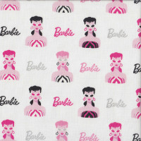 Barbie Girl with Sunglasses on White Licensed Quilting Fabric