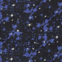 Blue Galaxy White Stars Night Sky on Black Quilting Fabric