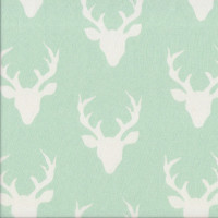 Stag Deer Buck Forest Animals on Pastel Green Quilting Fabric