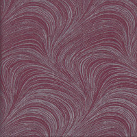 Silver Metallic on Burgundy Wave Texture Marble Blender Quilting Fabric