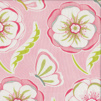 Butterflies and Blossoms Flowers on Pink Quilting Fabric