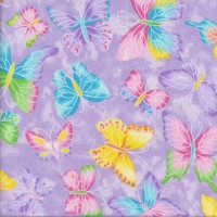 Pretty Butterflies on Purple Sparkly Silver Metallic Girls Quilting Fabric
