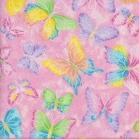 Pretty Butterflies on Pink Sparkly Silver Metallic Girls Quilting Fabric
