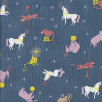 Carnival Animals Lions Tigers Bears Elephants on Blue Quilting Fabric