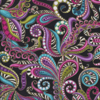 Dog On It Carnival Swirls with Metallic Gold on Black Quilting Fabric