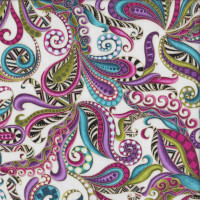 Dog On It Carnival Swirls with Metallic Gold on White Quilting Fabric