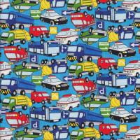 Cars Bus Taxi Fire Trucks Ambulance on Blue Boys Fabric