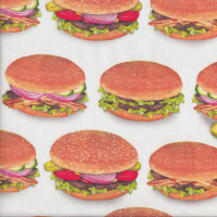 Burgers on White Chow Time Hamburgers Junk Food Quilting Fabric