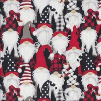 Santa Faces Gnomes on Black Christmas Quilting Fabric
