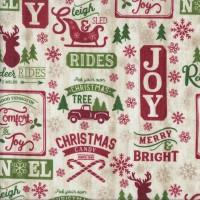 Christmas Patch on Beige Sleigh Reindeers Noel Quilting Fabric