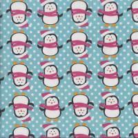 Happy Penguins on Aqua Blue with White Dots Quilting Fabric