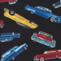 Colourful Classic American Cars on Black Quilting Fabric