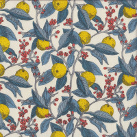 Conservatory Fruits Liberty of London on Natural Yellow Fruit Flowers Quilting Fabric
