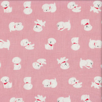 Cute White Dogs on Pink Pet Quilting Fabric