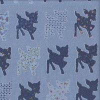 Baby Deer with Floral Patterns on Chambray Blue Quilting Fabric