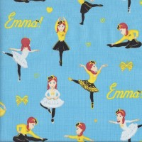 The Wiggles Emma Ballet Bows Hearts on Blue Girls Licensed Quilting Fabric