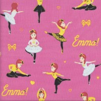 The Wiggles Emma Ballet Bows and Hearts on Pink Girls Licensed Quilting Fabric