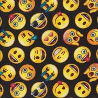 Emoji Symbols on Black Happy Sad Shocked Quilting Fabric