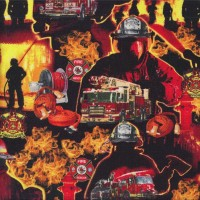 Firemen Flames Fire Engines Trucks Hoses on Black Quilting Fabric