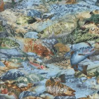 Trout Fishing Water on Blue Boys Quilting Fabric