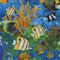Tropical Fish Coral  on Blue Ocean Shark Attack Quilting Fabric