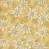 Australian Sun Cream Flannel Flowers on Gold Quilting Fabric